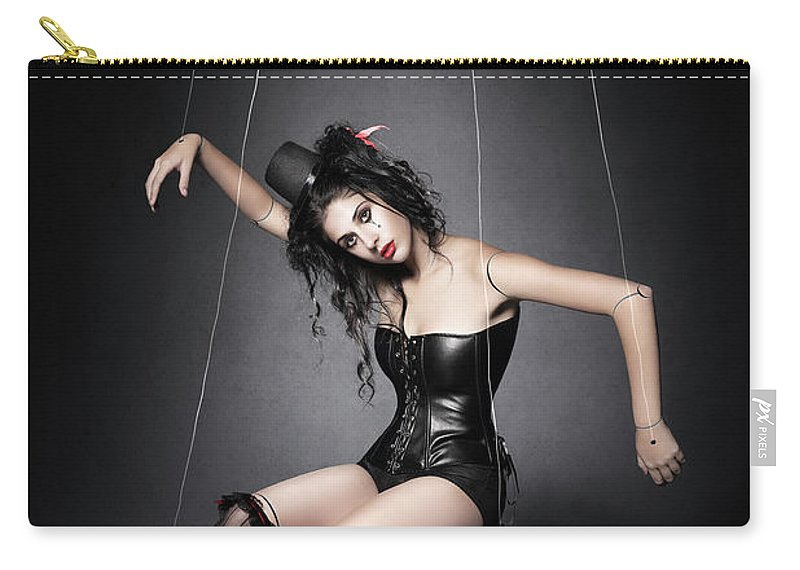 Marionette Carry-all Pouch featuring the photograph Black Widow Marionette Puppet by Johan Swanepoel
