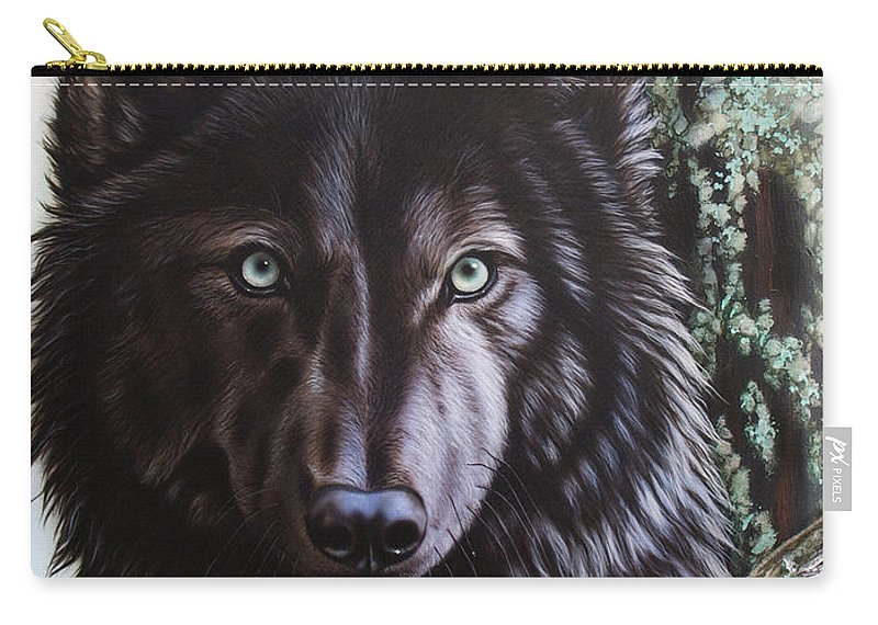 Wolves Carry-all Pouch featuring the painting Black Wolf by Sandi Baker