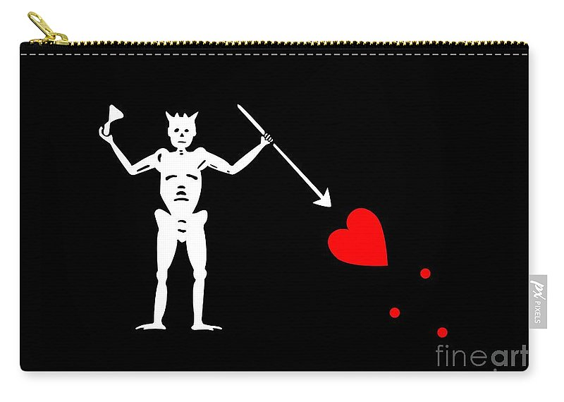 Tee Carry-all Pouch featuring the digital art Blackbeard Pirate Flag Tee by Edward Fielding