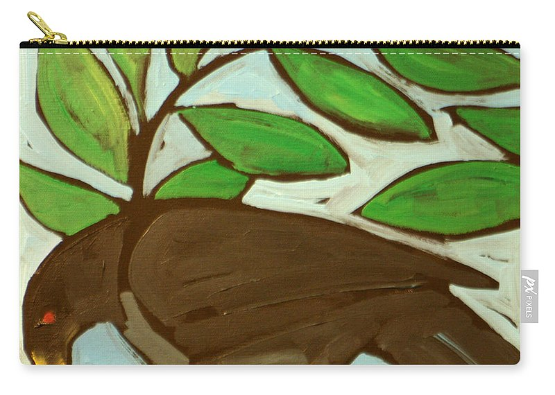 Bird Carry-all Pouch featuring the painting Blackbird by Tim Nyberg