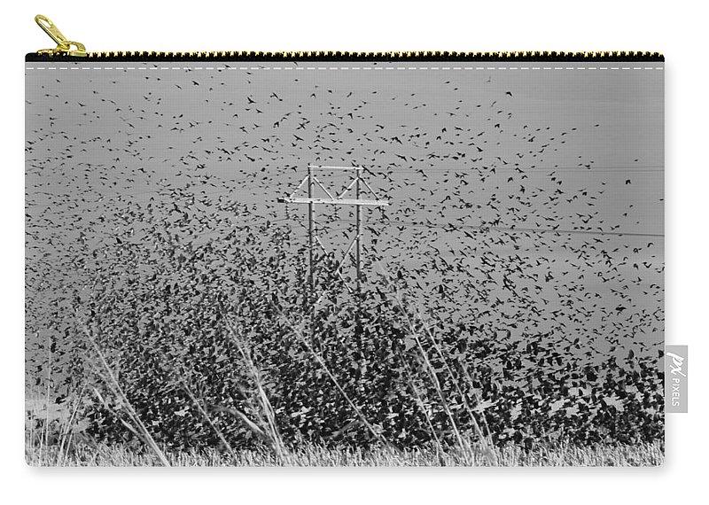 Blackbird Carry-all Pouch featuring the photograph Blackbird Tornado by Linda Burns
