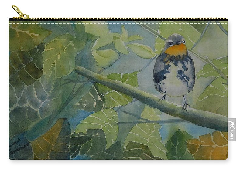 Bird Carry-all Pouch featuring the painting Blackburnian Warbler I by Ruth Kamenev