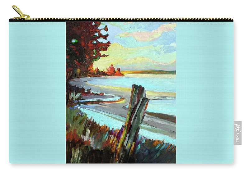 Sketch Coast Coastal Sea Ocean Meadow Stumps Sky Sunset Trees Landscape Outdoors Carry-all Pouch featuring the painting Blackie Spit Meets Mud Bay by Catherine Robertson