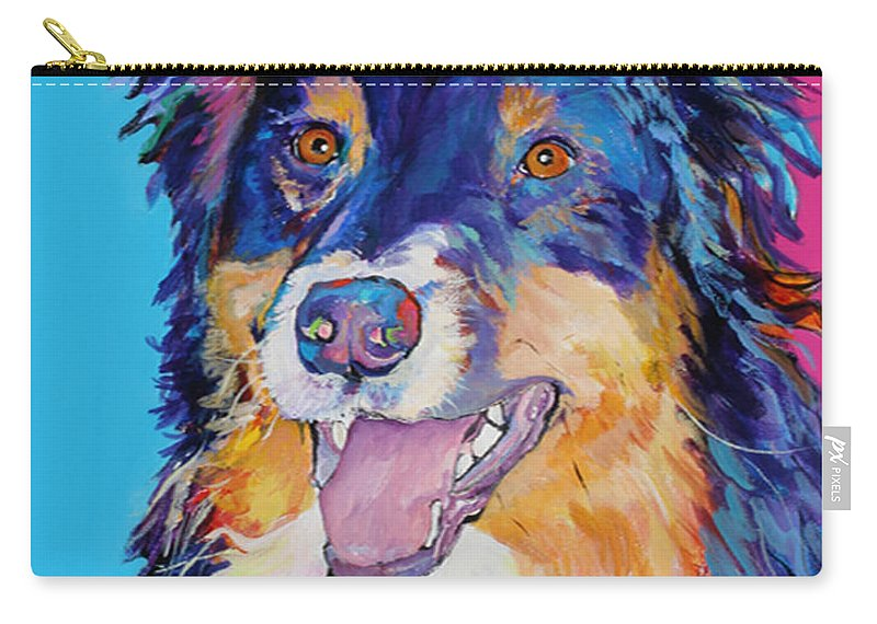 Dog Carry-all Pouch featuring the painting Blackjack by Pat Saunders-White