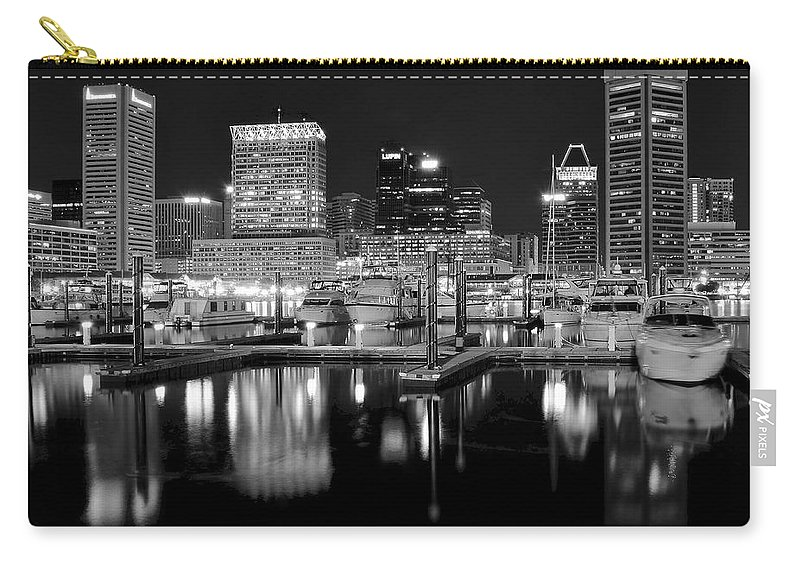 Baltimore Carry-all Pouch featuring the photograph Blackness In The Harbor by Frozen in Time Fine Art Photography