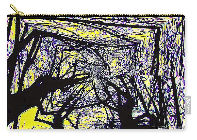Trees Carry-all Pouch featuring the mixed media Blacky Bear Forest by Lynn Wood