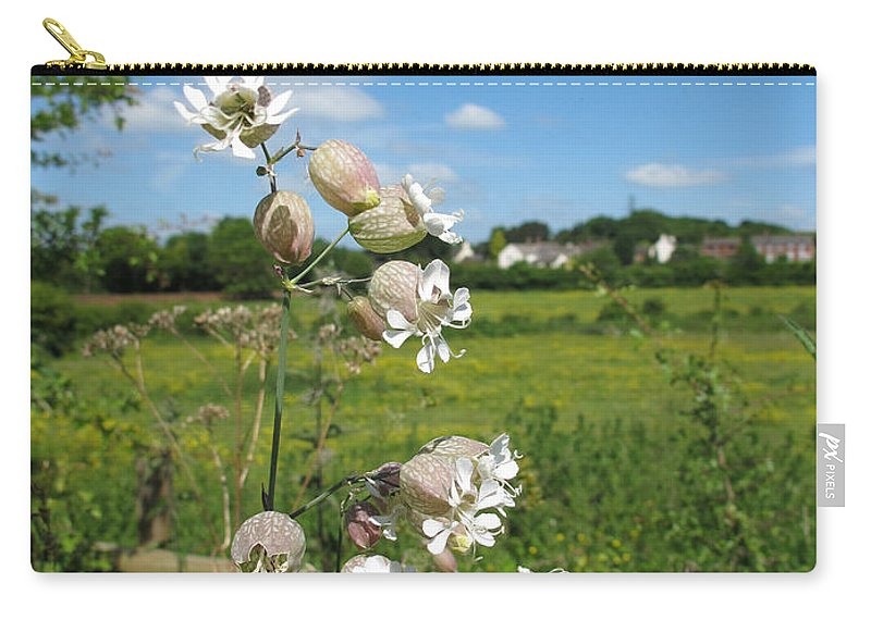 Bladder Campion Carry-all Pouch featuring the photograph Bladder Campion On Stone Wall by Bob Kemp