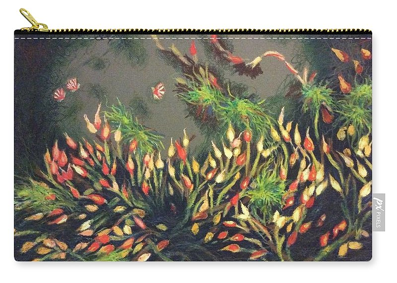 Sandra Hansen Carry-all Pouch featuring the pastel Bladderwort by Art Nomad Sandra Hansen