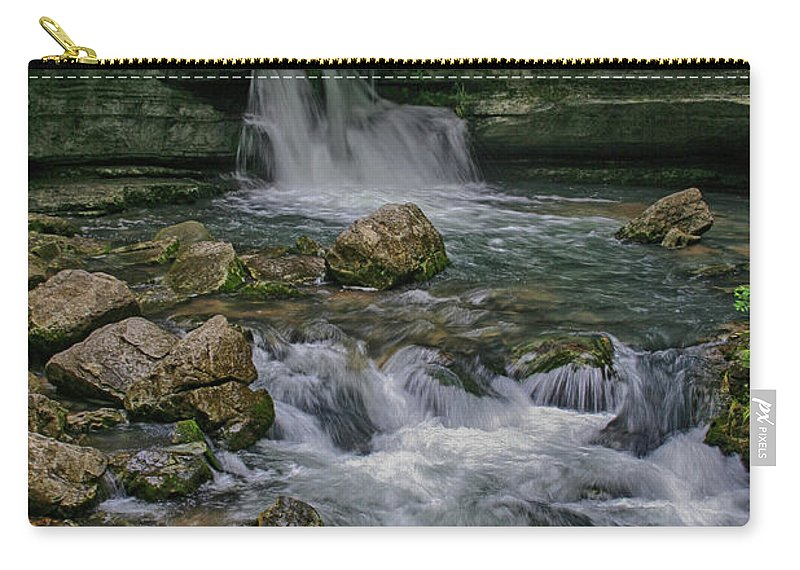 Blanchard Spring Carry-all Pouch featuring the photograph Blanchard Springs by Larry Pegram