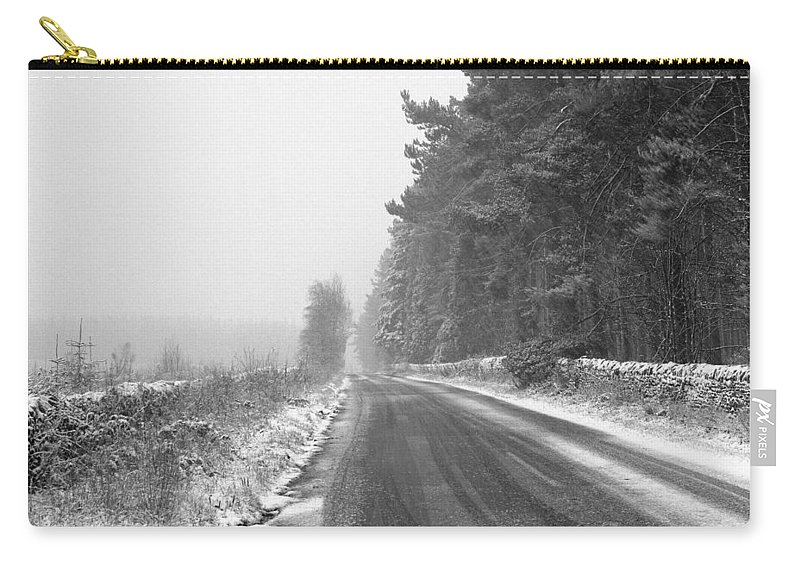 Carry-all Pouch featuring the photograph Blanchland Road In Winter, Slaley Woods by Iain Duncan