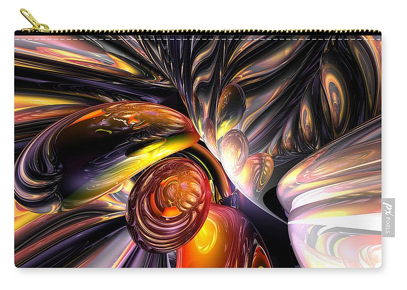 3d Carry-all Pouch featuring the digital art Blaze Abstract by Alexander Butler