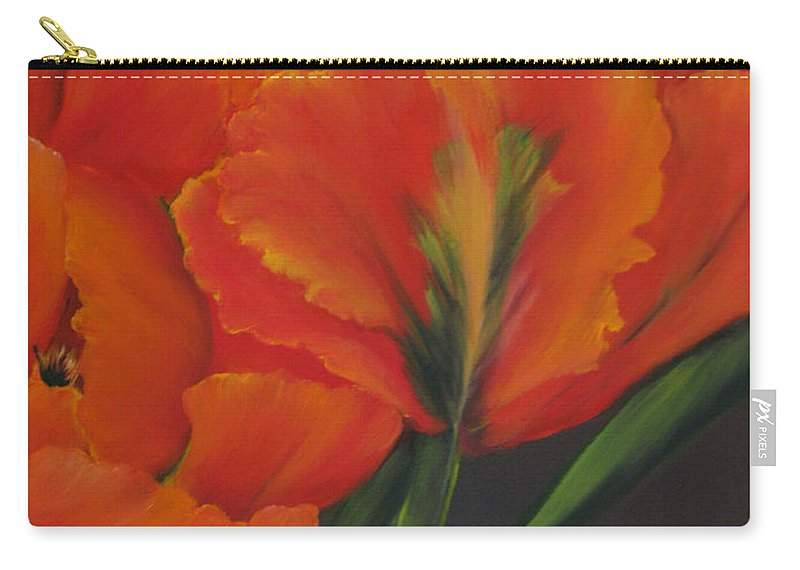 Tulips Carry-all Pouch featuring the painting Blaze Of Glory by Carol Sweetwood