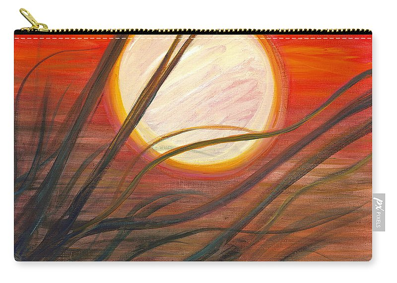 Sunrise Carry-all Pouch featuring the painting Blazing Sun And Wind-blown Grasses by Nadine Rippelmeyer