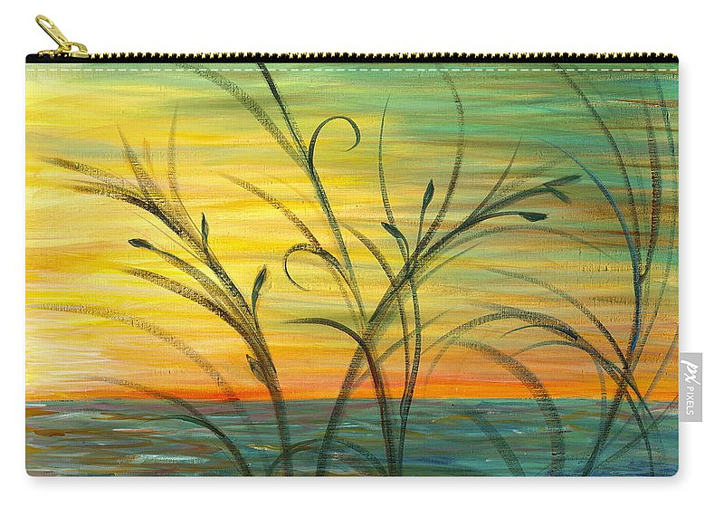 Blue Carry-all Pouch featuring the painting Blazing Sunrise And Grasses In Blue by Nadine Rippelmeyer