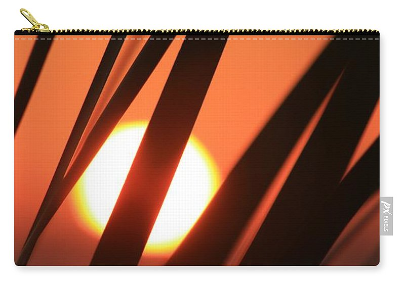 Sun Carry-all Pouch featuring the photograph Blazing Sunset And Grasses by Nadine Rippelmeyer