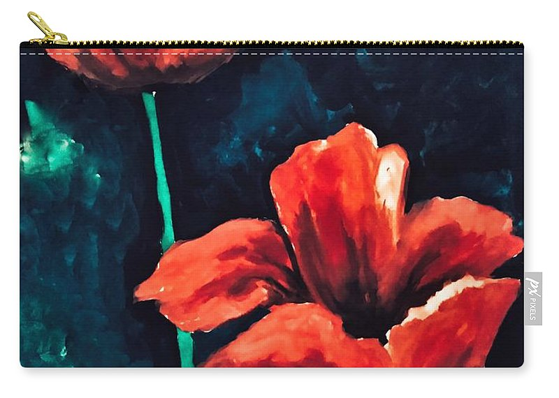 Acrylic Carry-all Pouch featuring the painting Bleeding Petals by Madhurima Mukherjee