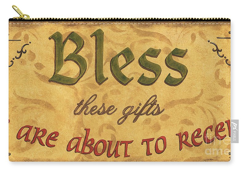 Gifts Carry-all Pouch featuring the painting Bless These Gifts by Debbie DeWitt