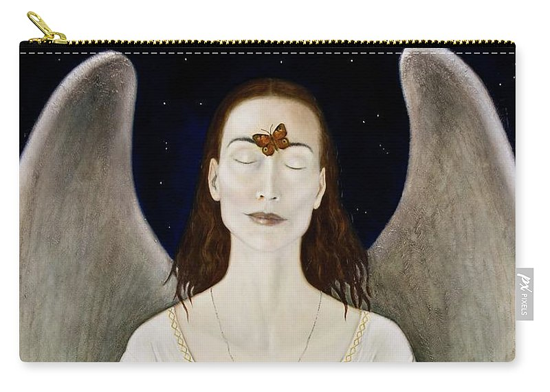 Angel Carry-all Pouch featuring the painting Blessed By A Winged Being by Nanne Nyander
