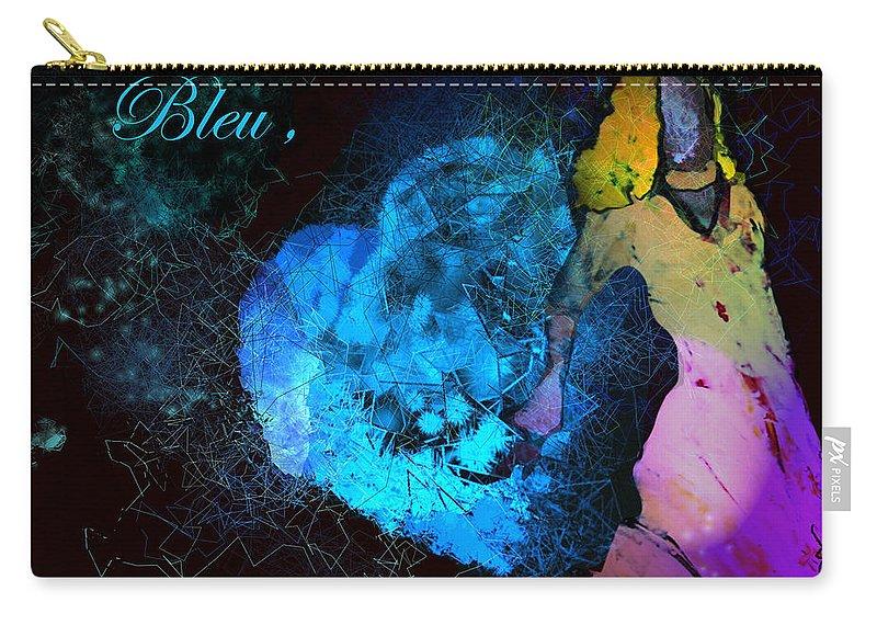 Love Carry-all Pouch featuring the painting Bleu Bleu L Amour Est Bleu by Miki De Goodaboom
