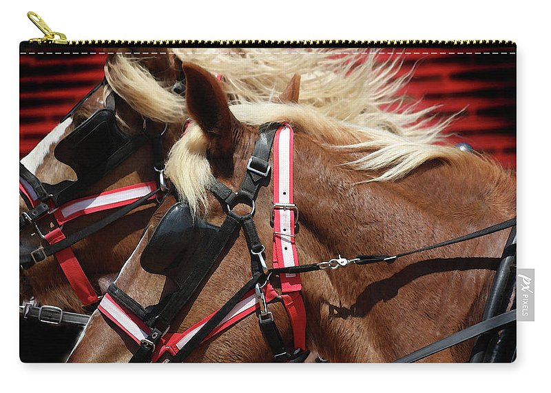 Western Art Carry-all Pouch featuring the photograph Blinders On by Kim Henderson
