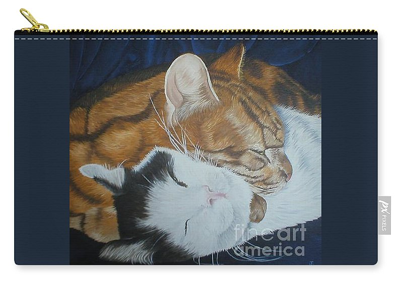 Cats Tabby Black White Jonah Jake Pinned Carry-all Pouch featuring the painting Blissful Slumber by Pauline Sharp