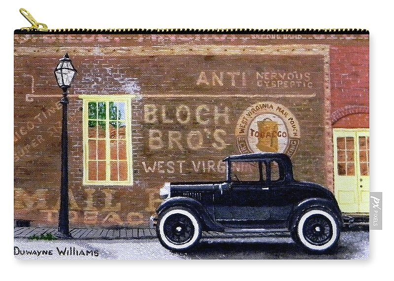 Model A Carry-all Pouch featuring the painting Bloch's Wall by Duwayne Williams