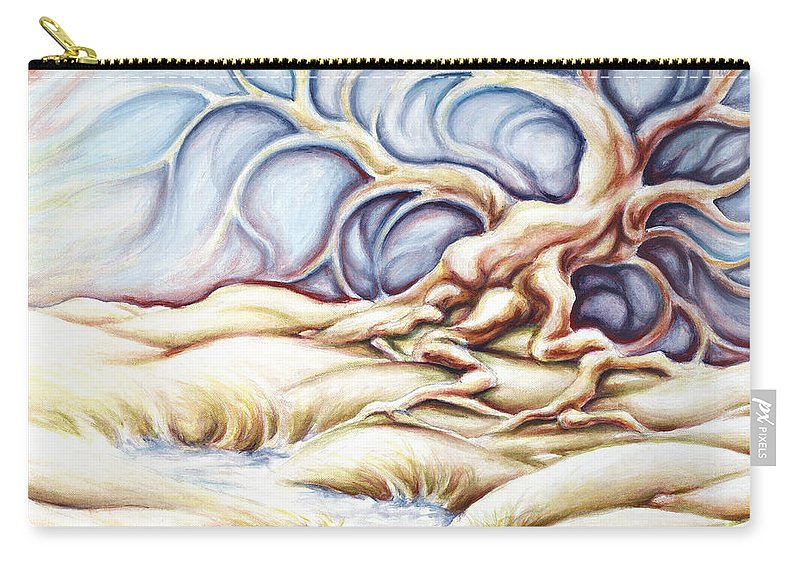 Acrylic Painting Carry-all Pouch featuring the painting Blonde And Blue by Jennifer McDuffie