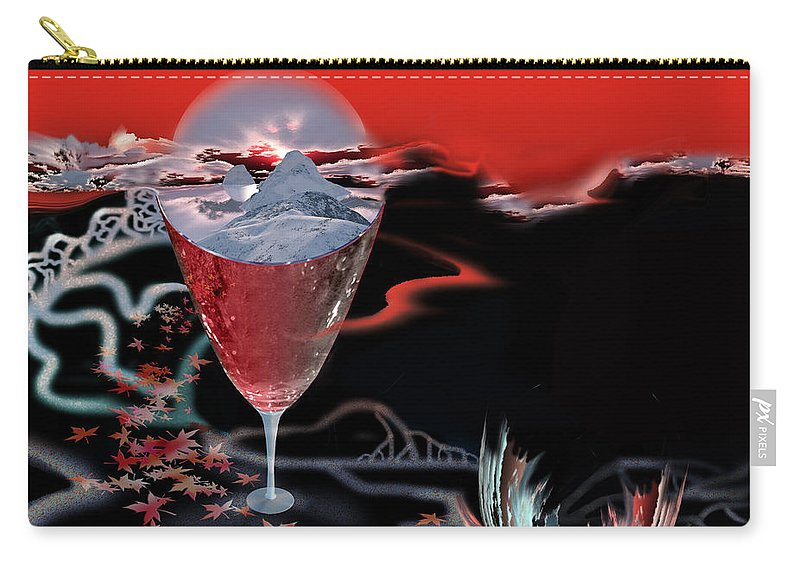 Blood Carry-all Pouch featuring the digital art Blood Red From Pure White by Jennifer Kathleen Phillips