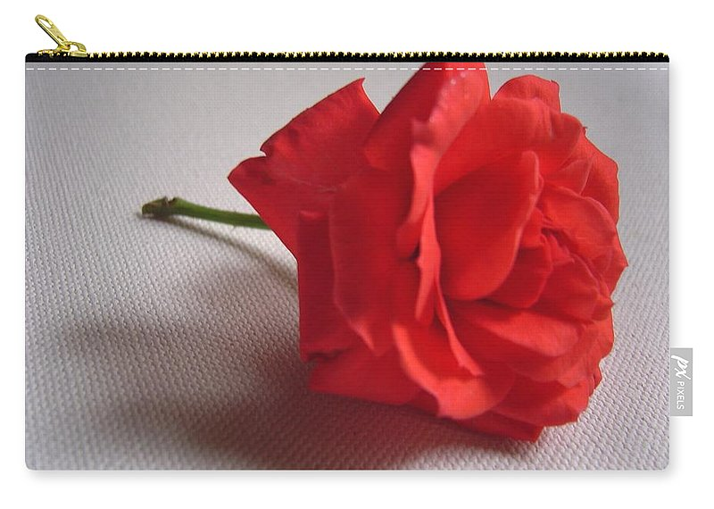 Blood Carry-all Pouch featuring the photograph Blood Red Rose by Usha Shantharam
