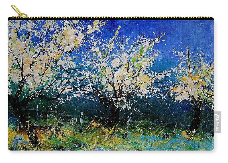 Landscape Carry-all Pouch featuring the painting Blooming Appletrees 56 by Pol Ledent