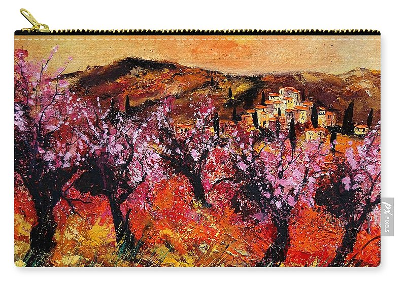 Provence Cherrytree Summer Spring Carry-all Pouch featuring the painting Blooming Cherry Trees by Pol Ledent