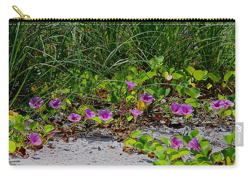 Cross Vines Carry-all Pouch featuring the photograph Blooming Cross Vines Along The Beach by Barbara Bowen