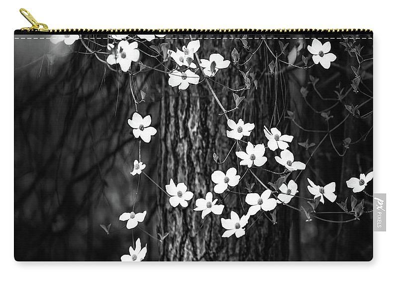 Yosemite Carry-all Pouch featuring the photograph Blooming Dogwoods In Yosemite Black And White by Larry Marshall
