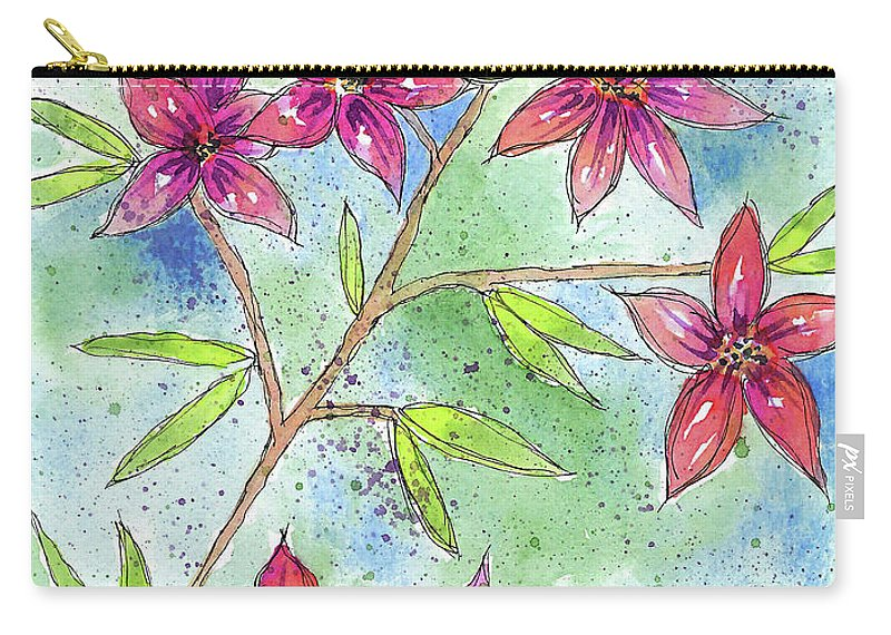 Watercolor And Ink Carry-all Pouch featuring the painting Blooming Flowers by Susan Campbell