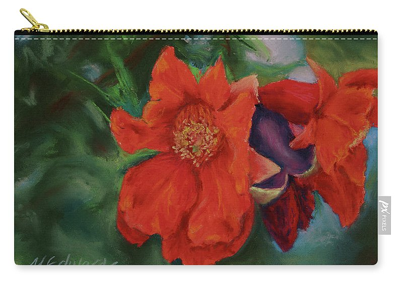 Poms Carry-all Pouch featuring the painting Blooming Poms by Marna Edwards Flavell