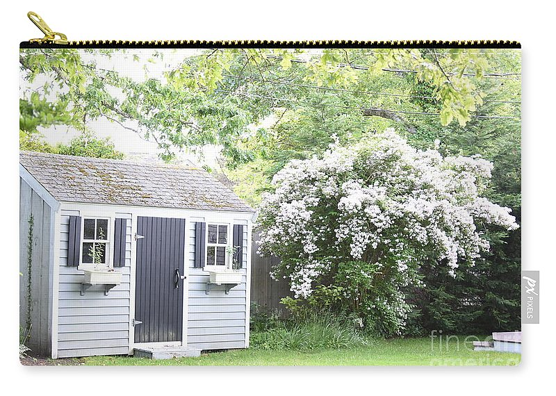 Shed Carry-all Pouch featuring the photograph Blooming Tree Next To Shed by John G Erlandson