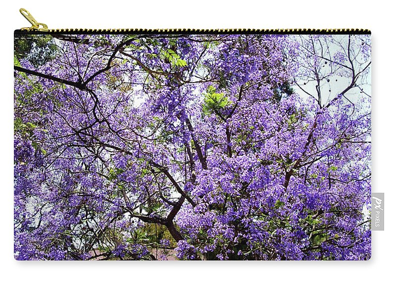 Blooming Carry-all Pouch featuring the photograph Blooming Tree With Purple Flowers by Mariola Bitner
