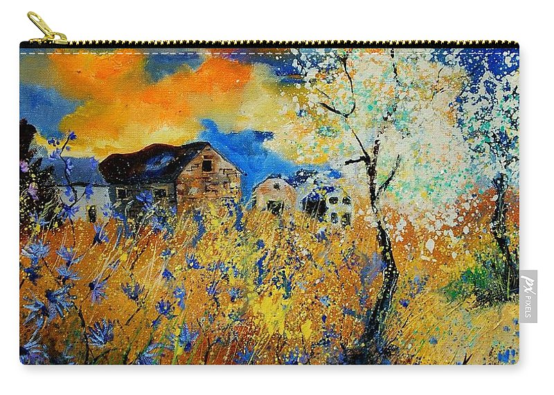 Poppies Carry-all Pouch featuring the painting Blooming Trees by Pol Ledent