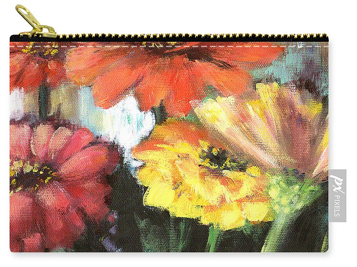 Zinnias Carry-all Pouch featuring the painting Blooming Zinnias by Marsha Young