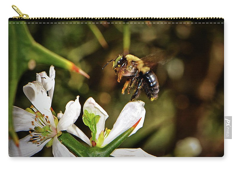 Bumblebee Carry-all Pouch featuring the photograph Blossom Hopping 002 by George Bostian