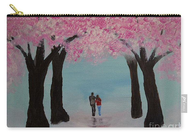 Couple Canvas Prints Carry-all Pouch featuring the painting Blossoming Romance by Leslie Allen