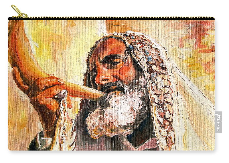 Rabbis Carry-all Pouch featuring the painting Blow The Trumpet In Zion by Carole Spandau