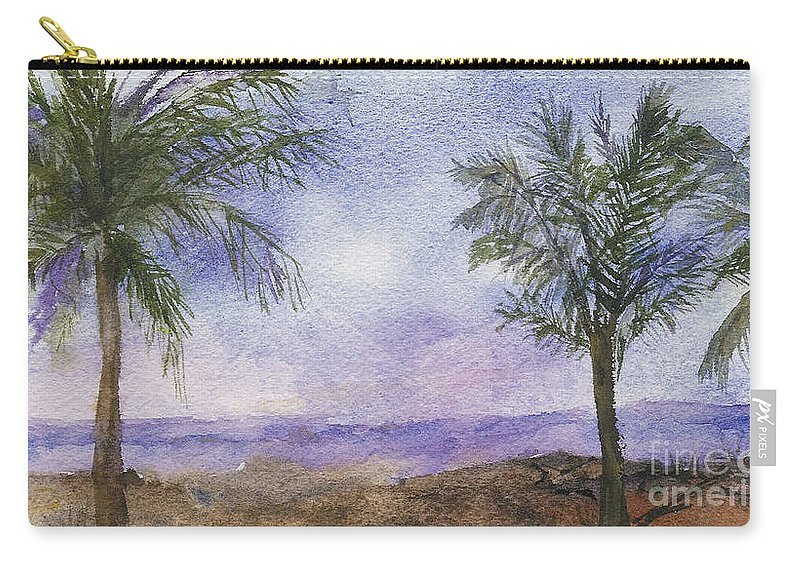 Landscape Carry-all Pouch featuring the painting Blowing By The Ocean by Vicki Housel