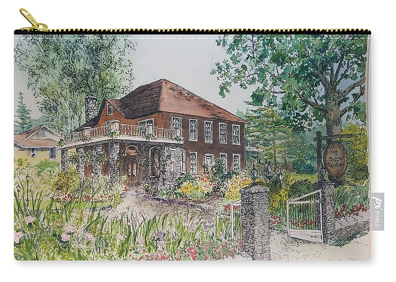 Print Of Blowing Rock Building Carry-all Pouch featuring the painting Blowing Rock Inn by Maggie Clark