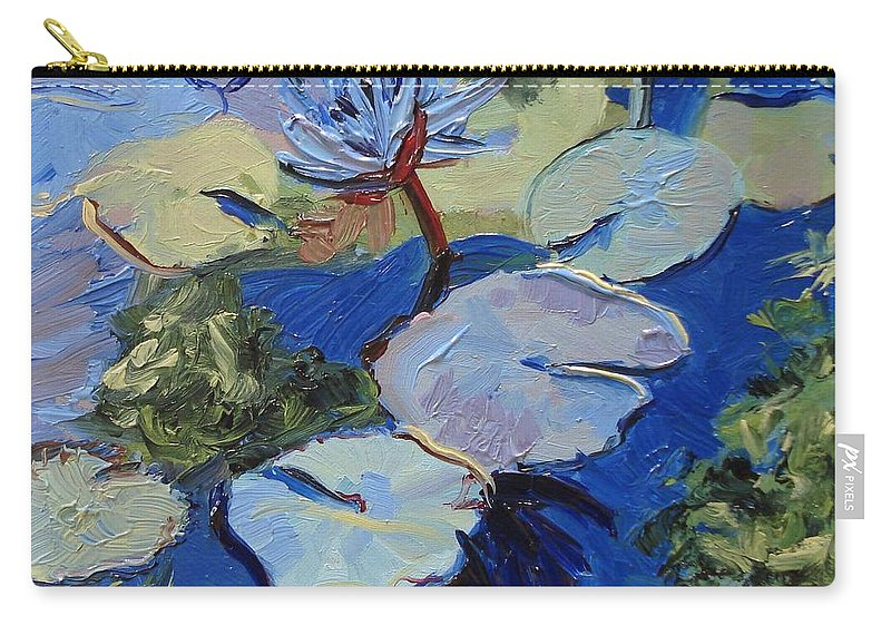 Lilies Carry-all Pouch featuring the painting Blu I by Barbara Andolsek