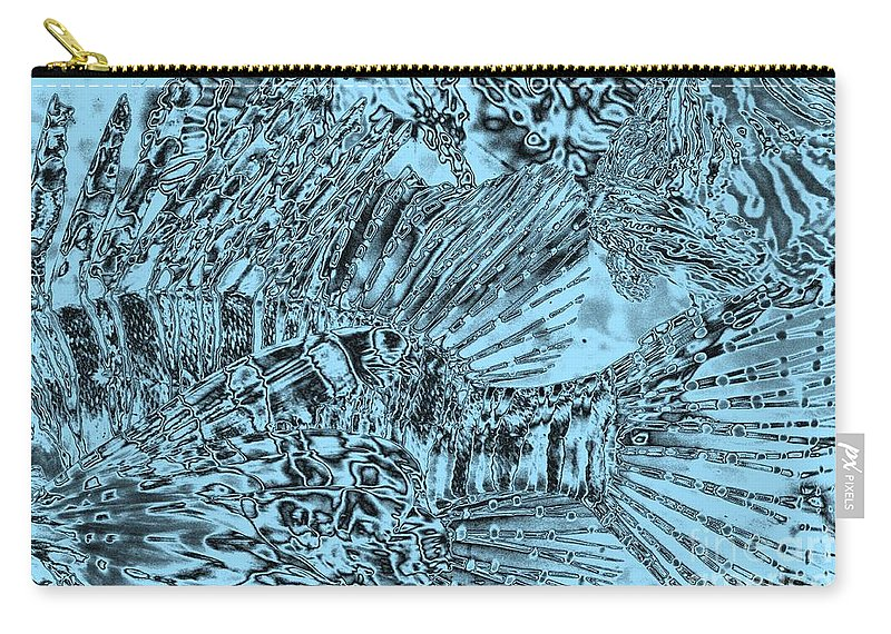 Abstract Art Carry-all Pouch featuring the photograph Blue Abstract - Lionfish by Carol Groenen