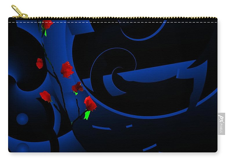 Abstract Carry-all Pouch featuring the digital art Blue Abstract by David Lane