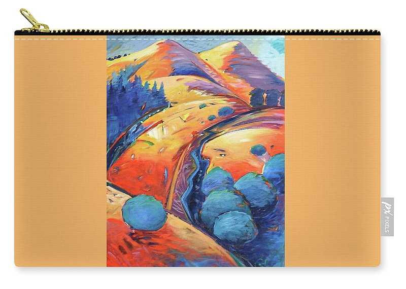 Hills Carry-all Pouch featuring the painting Blue and Gold by Gary Coleman