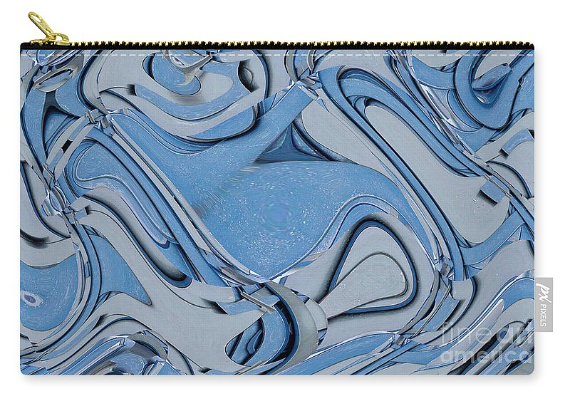 Digital Art Carry-all Pouch featuring the digital art Blue And Gray by Ron Bissett