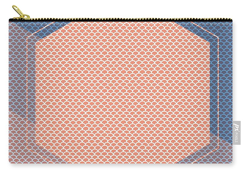Brandi Fitzgerald Carry-all Pouch featuring the digital art Blue And Orange Abstract Hexagon by Brandi Fitzgerald
